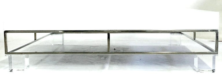 American Mid-Century Modern Willy Rizzo Style Lacquered and Chrome Lucite Table For Sale