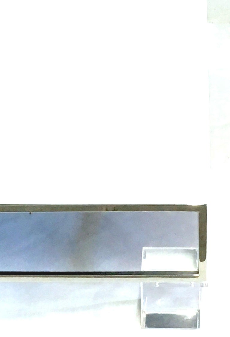 Mid-Century Modern Willy Rizzo Style Lacquered and Chrome Lucite Table For Sale 1