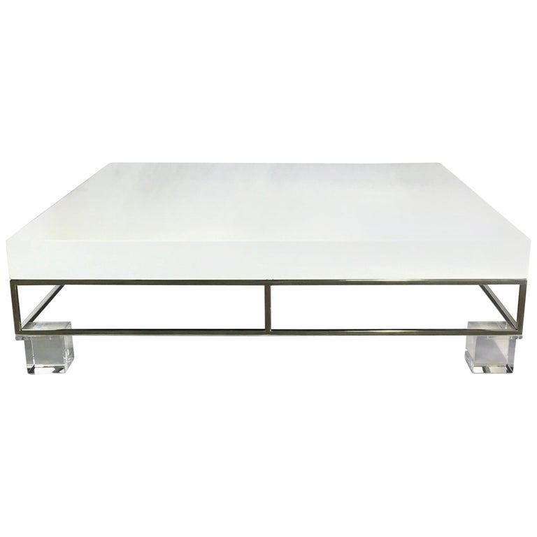 Mid-Century Modern Willy Rizzo Style Lacquered and Chrome Lucite Table For Sale