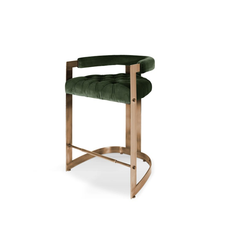 Portuguese Mid-Century Modern Winfrey Bar Chair Brass Cotton Velvet For Sale