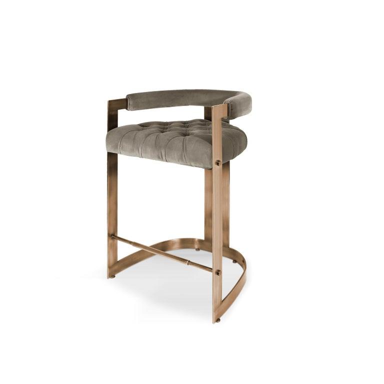 Mid-Century Modern Winfrey Bar Chair Brass Cotton Velvet In New Condition For Sale In RIO TINTO, PT