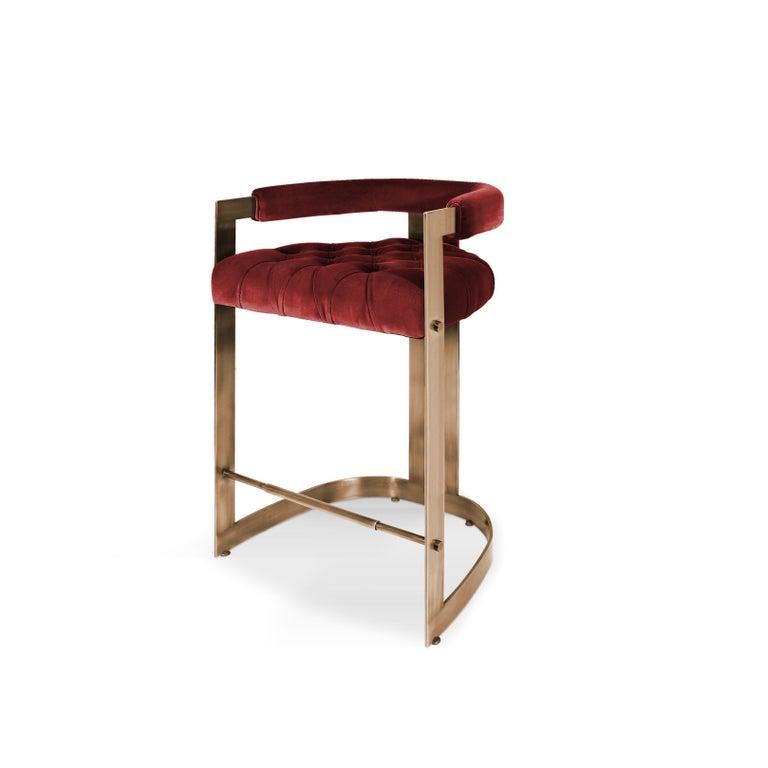 Contemporary Mid-Century Modern Winfrey Bar Chair Brass Cotton Velvet For Sale