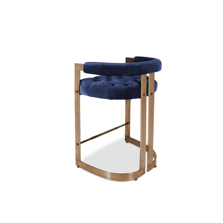 Mid-Century Modern Winfrey Bar Chair Brass Cotton Velvet For Sale 1