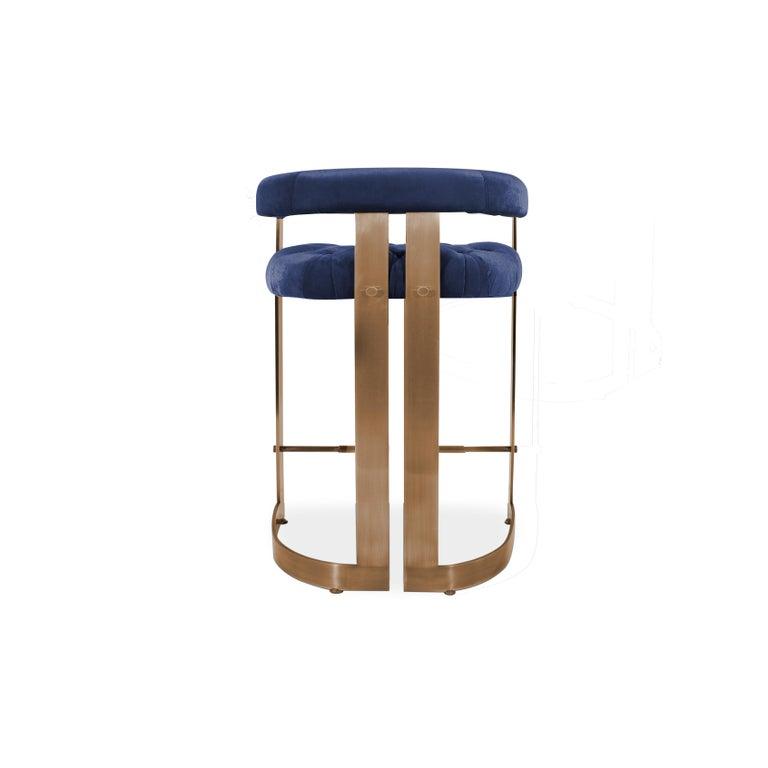 Mid-Century Modern Winfrey Bar Chair Brass Cotton Velvet For Sale 2