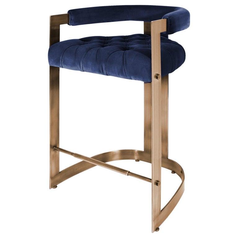 Mid-Century Modern Winfrey Bar Chair Brass Cotton Velvet For Sale