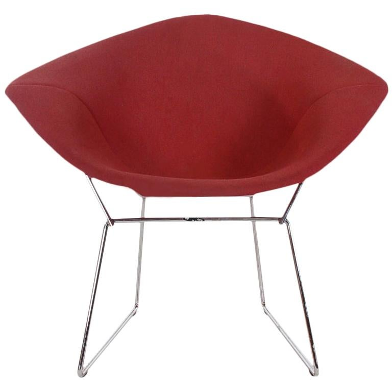 Mid-Century Modern Wire Diamond Lounge Chair by Harry Bertoia for Knoll in Red