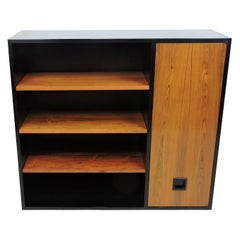 Mid-Century Modern Wood and Lacquer Hanging Wall Cabinet Shelves Probber Style