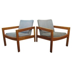 Mid-Century Modern Wood and Light Blue Fabric Lounge Chairs