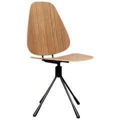 Mid-Century Modern Wood and Metal Swivel Chair, circa 1950