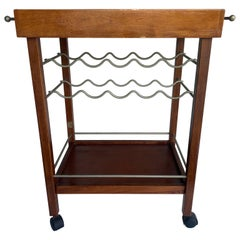 Mid-Century Modern Wood and Mirror Top Bar Cart Trolley