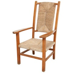 Mid-Century Modern Wood and Rattan Chair, circa 1940