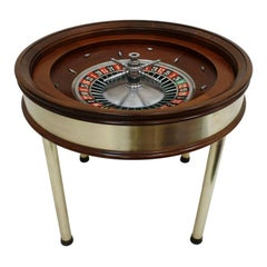 Mid-Century Modern Wood Brass French Roulette Game Table