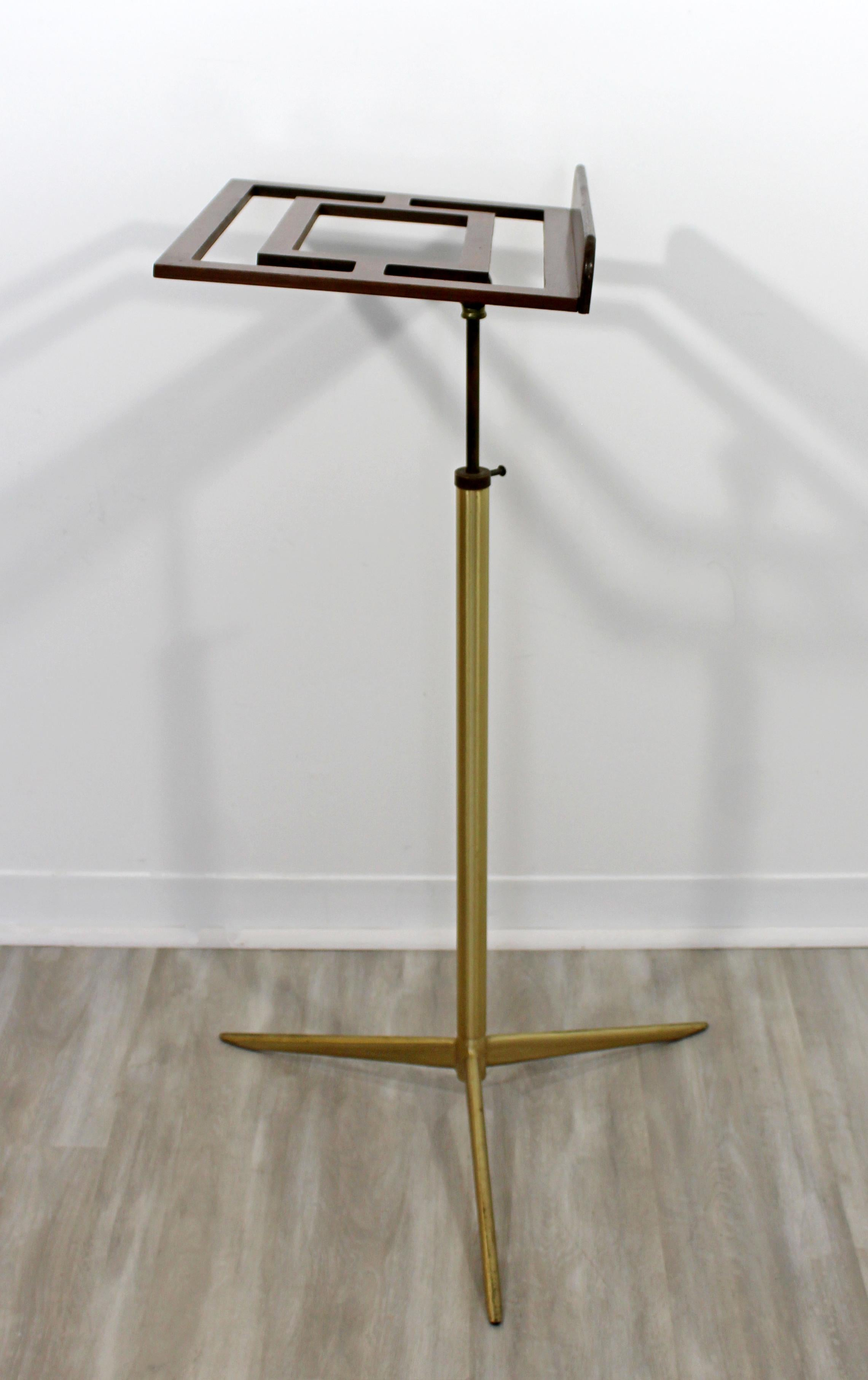 Mid Century Modern Wood Brass Italian Music Art Pedestal Display Stand 1960s