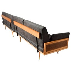 Mid-Century Modern Wood Cane Daybed Pair of Sofa Set