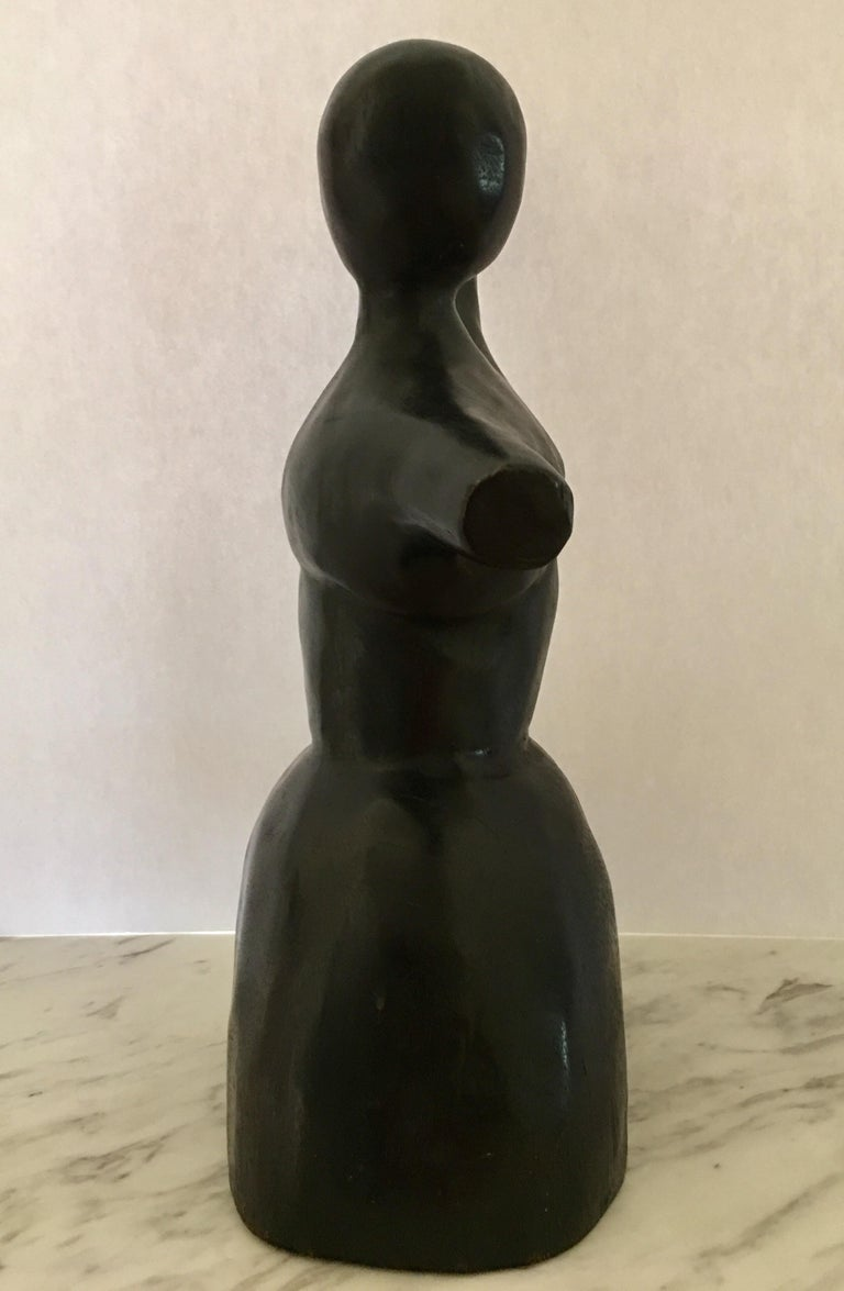 Late 20th Century Mid-Century Modern Wood Carved Nude Abstract Sculpture Figure For Sale