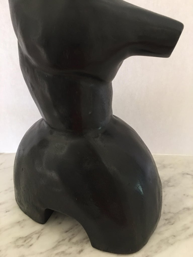 Mid-Century Modern Wood Carved Nude Abstract Sculpture Figure For Sale 3
