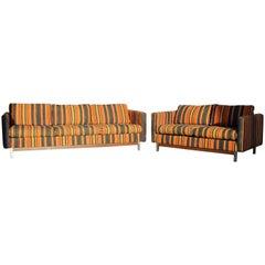Mid-Century Modern Wood Chrome Pair of Sofa Loveseat Set by Selig Monroe Denmark
