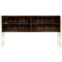 Mid-Century Modern Wood Danish Console/Cabinet with Acrylic Legs
