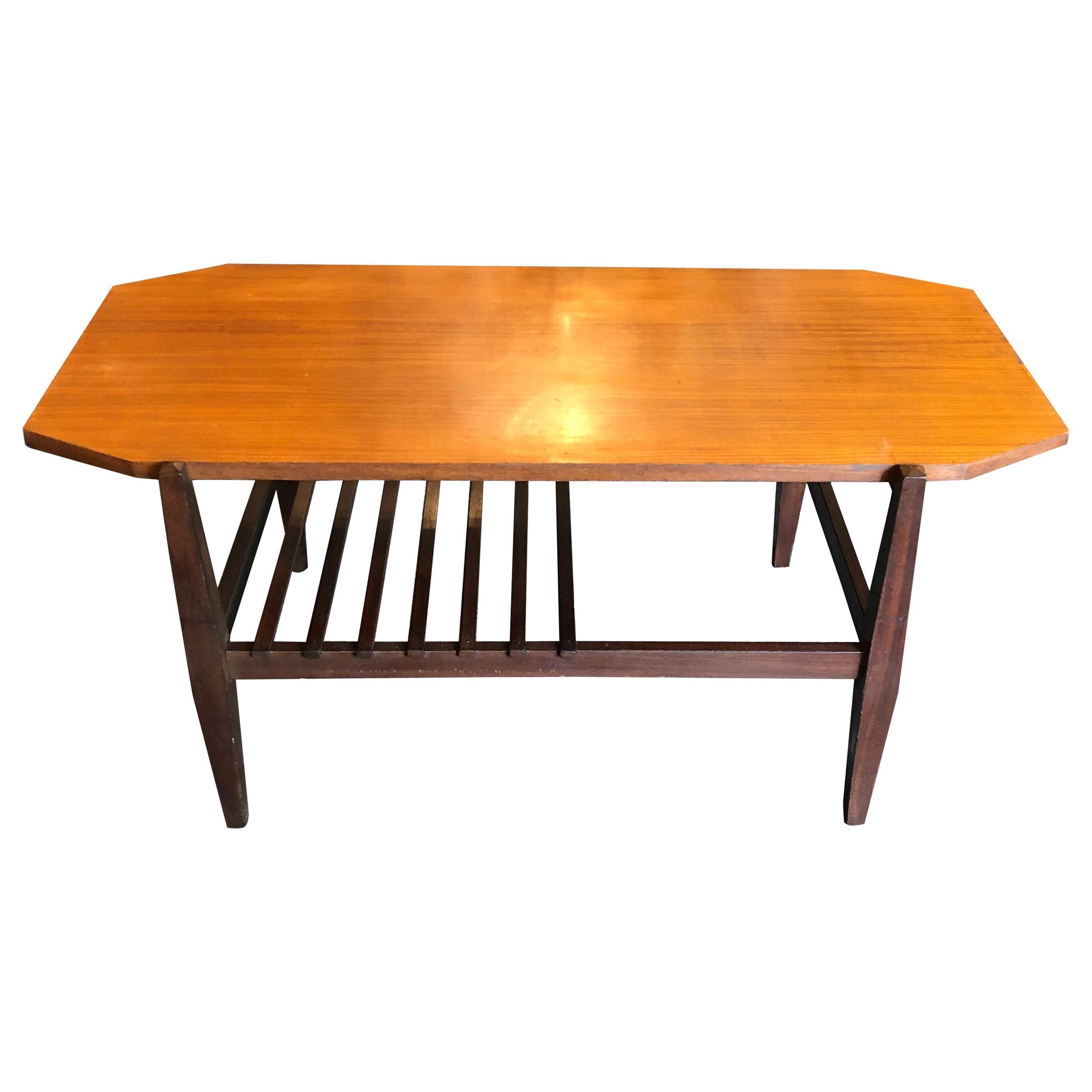 Mid-Century Modern Wood Italian Octagonal Coffee Table, circa 1960