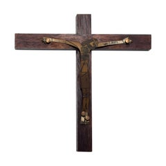 Mid-Century Modern Wood Sculptured Brass Cross by Emaus, Mexico