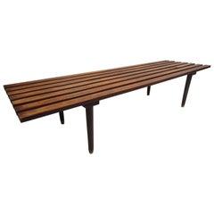 Mid-Century Modern Wood Slat Bench