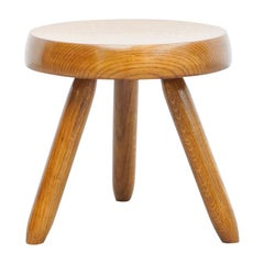 Mid-Century Modern Wood Tripod Stool in the Style of Charlotte Perriand
