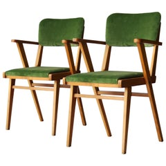 Mid-Century Modern Wood Velvet Green Pair of Italian Armchairs, 1960