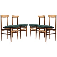 Mid-Century Modern Wood Velvet Green Set of Four Swedish Armchairs, 1950