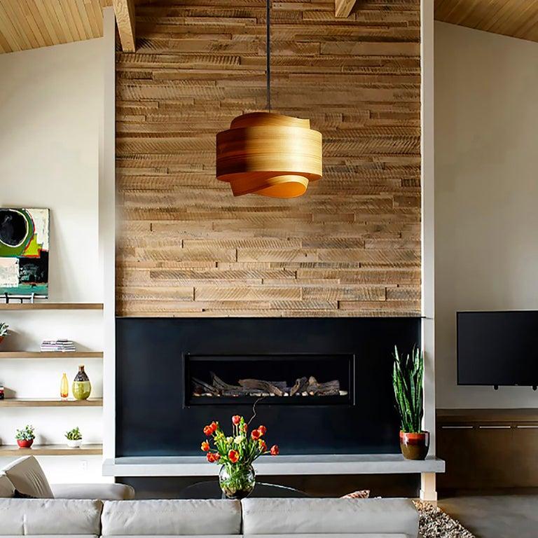 American Mid-Century Modern Wood Veneer Chandelier Pendant For Sale