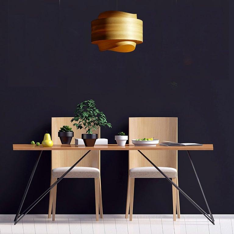 Hand-Crafted Mid-Century Modern Wood Veneer Chandelier Pendant For Sale