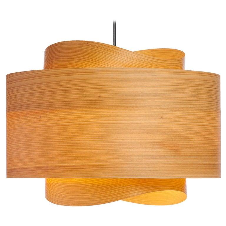 Mid-Century Modern Wood Veneer Chandelier Pendant For Sale