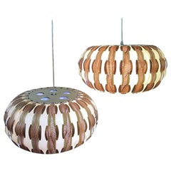 Mid-Century Modern Wood Veneer Interlaced Hanging Ceiling Pendant Light