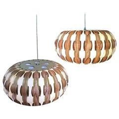 Mid-Century Modern Wood Veneer Interlaced Hanging Ceiling Pendant Light
