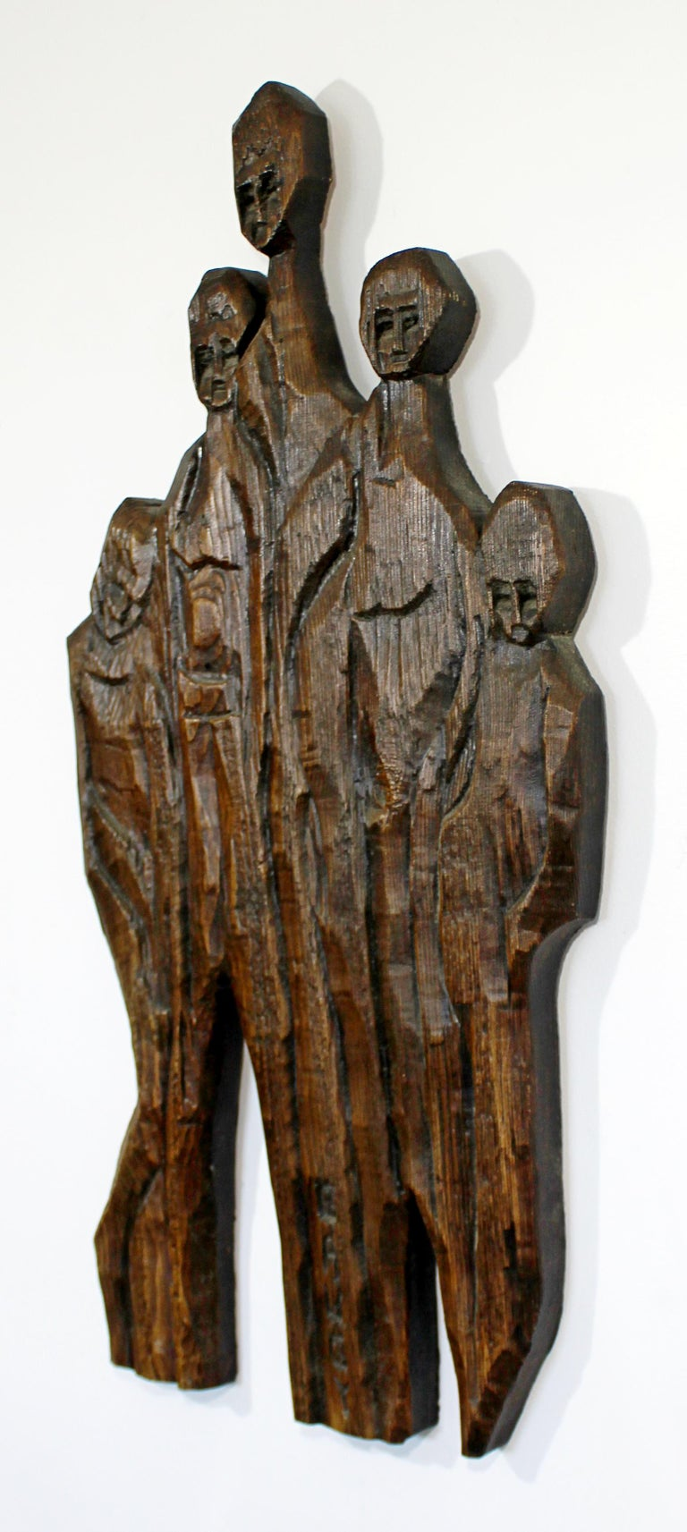 For your consideration is a subtly spectacular, carved wood wall art sculpture relief, signed by Jean-Claude Gaugy, and dated 1969. In excellent vintage condition. The dimensions are 18