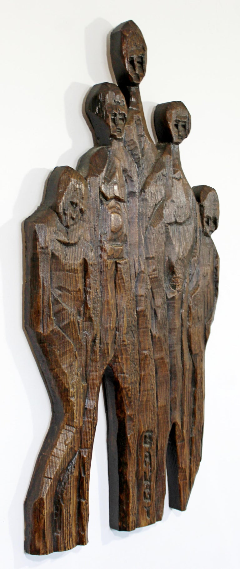 French Mid-Century Modern Wood Wall Art Sculpture Relief Signed Jean Claude Gaugy 1960s For Sale