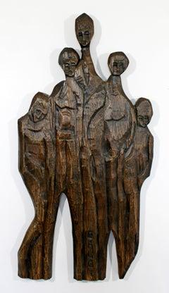 Mid-Century Modern Wood Wall Art Sculpture Relief Signed Jean Claude Gaugy 1960s