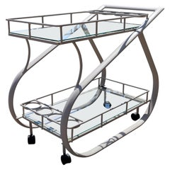 Mid-Century Modern Woodard 2 Tier Metal & Glass Rolling Serving Bar Cart, 1970s