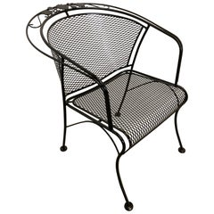 Mid-Century Modern Woodard Briarwood Outdoor Wrought Iron Dining Armchair