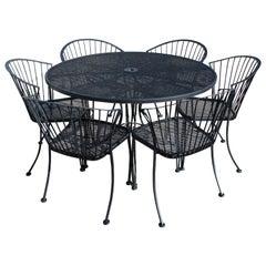 Mid-Century Modern Woodard Klismos Patio Dining Set Table 6 Curved Chairs, 1960s