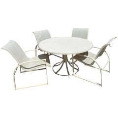 Mid-Century Modern Woodard Margarita Patio Dining Set Table 4 Curved Chairs