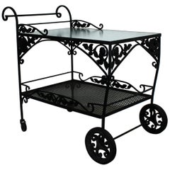 Mid-Century Modern Woodard Patio Bistro Wrought Iron Serving Bar Tea Cart