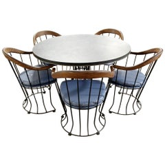 Mid-Century Modern Woodard Patio Dining Set Slate Table & 5 Curved Chairs, 1960s
