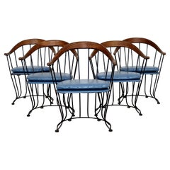 Mid-Century Modern Woodard Patio Iron Vinyl Set of 5 Curved Dining Chairs, 1960s