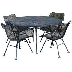 Mid-Century Modern Woodard Sculptura Patio Dinette Set Table 4 Chairs, 1960s