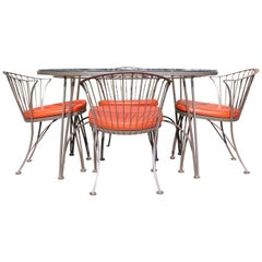 Mid-Century Modern Woodard Set of 4 Klismos Patio Chairs & Pinecrest Table 1960s