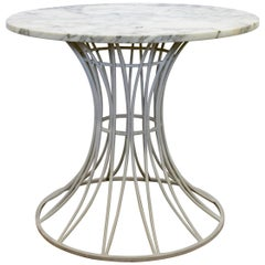 Mid-Century Modern Woodard White Patio Table with Marble Top Round, 1960s