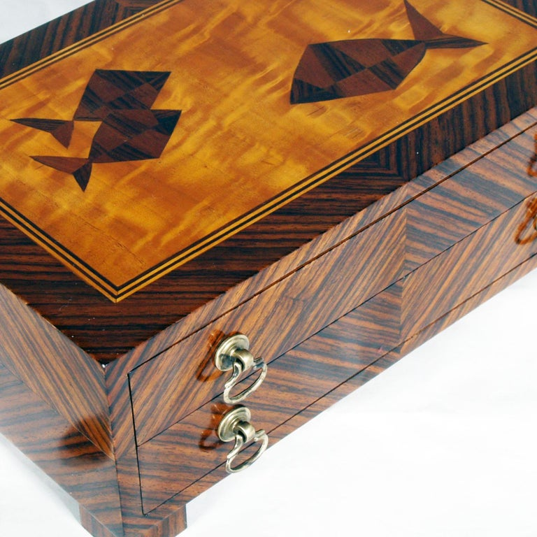 Inlay Mid-Century Modern Wooden Box Briar for Jewelry of 1940s For Sale