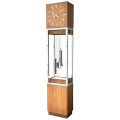 Mid-Century Modern Wooden Cased Grandfather Clock, 1980s