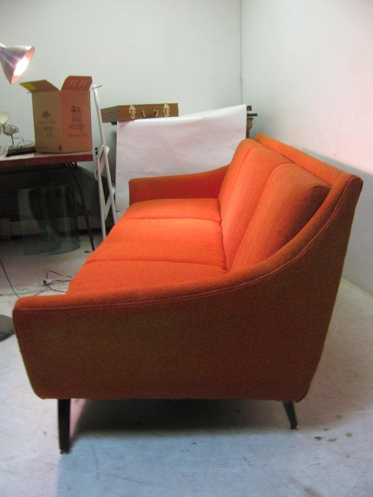 Mid Century Modern Wool Tweed Three Seat Sofa By Bassett