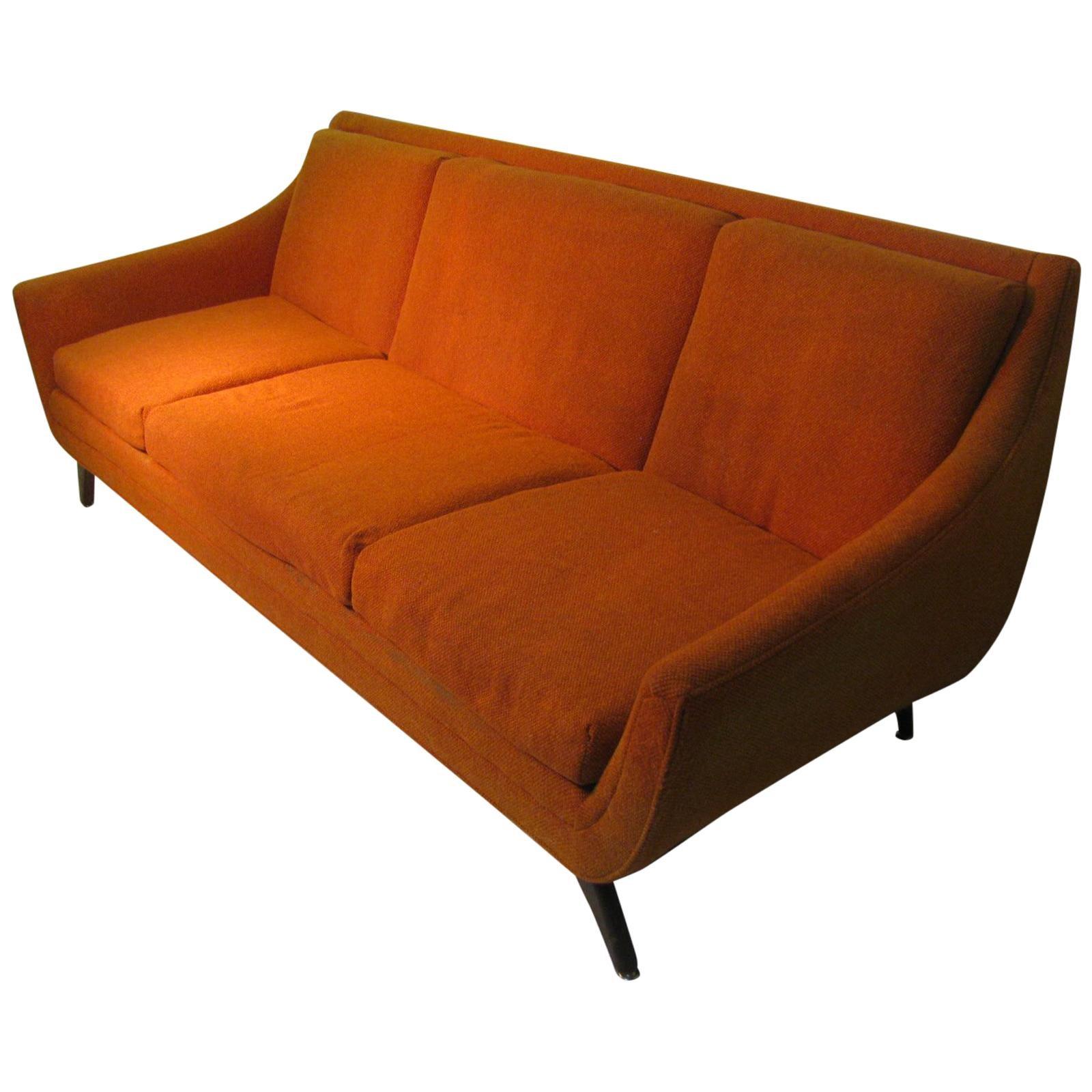 Mid-Century Slipper Sofa in Burnt Orange Tweed and Classic 60\'s ...